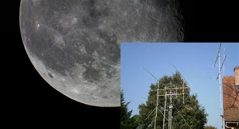 Avec quatre antennes de 10 mètres et un matériel puissant, Christian peut communiquer avec la terre entière en utilisant la lune comme relais